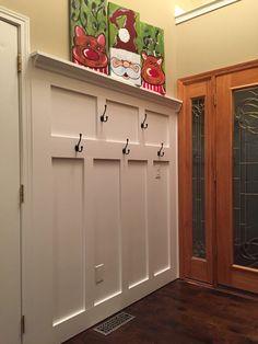 My own take on the Pinterest coat hook/ shelf using dead space behind the door. Cheap and easy upgrade