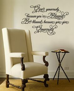 """""""Give generously because you're blessed. Be blessed because you give generously"""" religious decorative vinyl lettering decals"""