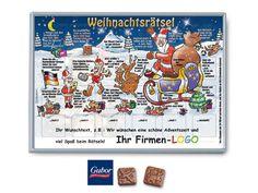 Rätsel-Adventskalender mit GUBOR-Schokolade mit Ihrem Firmen-Logo zum Bedrucken günstig bestellen ab 100 Stück.