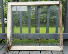 Vintage Window, Old Wood Window Frame, Single, 1 Pane, Wood Window, Wedding Decor, Wood Sign, Glass Pane Window, Arts & Crafts 188