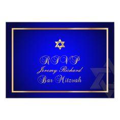 PixDezines rsvp Star, Bar Mitzvah/royal blue+gold