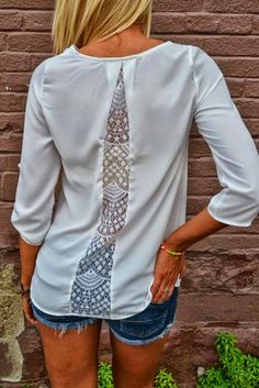 Ladies Transform a too-tight shirt with a lace insert in the back fashion inspiration