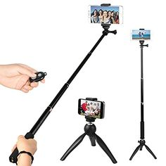 Amazon.com: SUPON Pro Selfie Stick Extendable Handheld with Mini Tripod Stand with Bluetooth Remote Shutter for Smartphone , Black: Cell Phones & Accessories