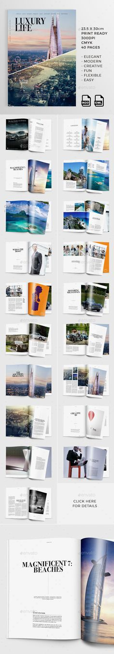 40 Pages Luxury Life Magazine Template InDesign INDD. Download here: http://graphicriver.net/item/luxury-life-40-pages-magazine/15492179?ref=ksioks
