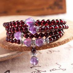 Amethyst Garnet Mala Bracelet/Necklace