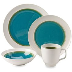 Gibson Overseas Aqua Oasis 16-Piece Dinnerware Set in Turquoise (€73) ❤ liked on Polyvore featuring home, kitchen & dining, dinnerware, aqua dinnerware set, stoneware bowl, aqua dinner plates, microwave safe dinnerware and aqua dinnerware