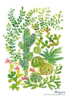 Illustration Poster Affiche Tableau Peinture Aquarelle Jungle Jardin Cactus Vert et Plantes Grasses Décoration Murale