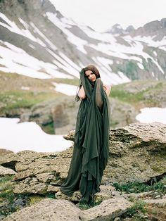 Dark GREEN gown by Leanne Marshall - Dramatic mountain bridal shoot by  Brumley & Wells - via Magnolia Rouge (Model: Ciella of Wilhelmina Denver)