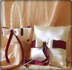 Burgundy Wedding Flower Girl Basket and Ring Bearer Pillow Set. $55.00, via Etsy.