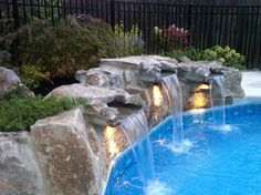 Inground Pools With Waterfalls pool waterfall | yard deco | pinterest | pool waterfall, backyard