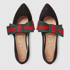 Suede ballet flat with Web bow - Gucci Women's Ballerina Flats 481183DE8601160