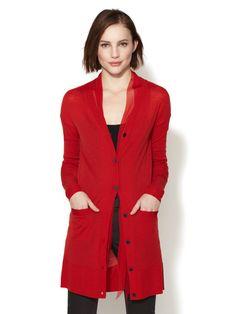 Wool Chiffon Tie Cardigan - love that red!