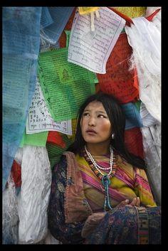 Prayer flag surround . Tibet