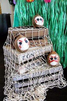 Kakamora coconuts from a Moana Birthday Party on Kara's Party Ideas | KarasPartyIdeas.com (13)