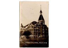 Vintage 1910's York Nebraska College Real Photo Postcard Huffman Photographer Town View