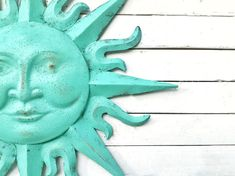 ****** Listing for 1 Sun Wall Decor ( Due to the painting and the distressing process , no 2 pieces are alike and there will be some differences from the picture and the final product ) . In Patina , distressed finish Rustic Tan # 5 Sun Wall Decor, Mermaid Wall Decor, Metal Sun Wall Art, Metal Walls, Metal Art, Outdoor Wall Art, Outdoor Walls, Handmade Copper, Etsy Handmade