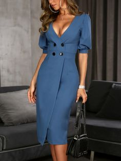Shop Solid Double-Breasted Puff Sleeve Wrap Dress right now, get great deals at Voguelily Work Dresses For Women, Simple Dresses, Cute Dresses, Beautiful Dresses, Casual Dresses, Fashion Dresses, Clothes For Women, Sexy Outfits, Classy Outfits