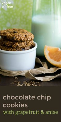 Sweet indulgence minus the guilt! Plant-based Chocolate Chip Cookies with Grapefruit & Anise. #vegan recipe by An Unrefined Vegan.