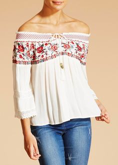 e4636fb7e2baa0 Falmer Rose Bardot Blouse Cream Blouse