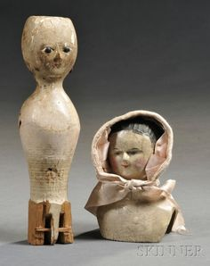 Painted Bedpost Doll Form and Carved Wood Doll Bust, 19th century, the bedpost doll with carved facial features, nail head earrings; the dol...