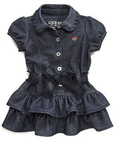 GUESS Baby Dress, Baby Girls Ruffle Denim Dress - Kids SALE & CLEARANCE - Macy's