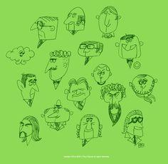 Drawing Wonder • 本日の落書き〜! 野郎の顔ばかりですみません(笑)。 こういうのは悩みなく描けるから楽ちんなのだ。