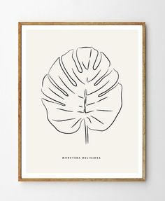 Monstera, Cheese Plant Leaf - PRINTABLE FILE. Tropical Leaf Printable Poster. Black Line Art. Nordic Minimalist Art. Scandinavian Style.
