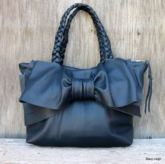 Leather Bow Handbag in Soft Navy Blue