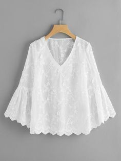 Material: Polyester Color: White Pattern Type: Plain, Embroidered Collar: V Neck Style: Cute, Elegant Type: Tunic Decoration: Ruffle Sleeve Length: Long Sleeve, Bell Sleeve Fabric: Fabric has no stretch Season: Spring, Fall Shoulder(Cm): Blouse Styles, Blouse Designs, Lace Top Dress, Flower Applique, White Patterns, Blouses For Women, Fashion Dresses, Couture, Fashion Design