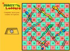 Snakes and Ladders - EChalk - Maths Zone Cool Learning Games Fun Math Games, Learning Activities, Phonics Flashcards, Math Pages, Learning English Online, Reading Words, Wallpaper Keren, School Games, Snakes