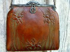 Arts and Crafts Tooled Leather Bag with Iris or by postGingerbread, $65.00