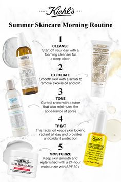 Refresh your morning skincare routine for the summer with Kiehl's. Start with Calendula Deep Foaming Cleanser. Exfoliate with Pineapple Papaya Facial Scrub to remove excess oil & dirt. Next, control s Leave In, Skin Care Regimen, Skin Care Tips, Biotin, Papaya Facial, Pantene Pro V, Serum, Anti Aging, Skin Routine