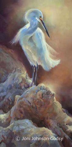 Joni Johnson Godsy Artist | JoniJohnsonGodsy.Com . I love the colors used on this heron. Looks so soft.