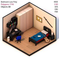 New vector games art low poly ideas Bedroom Setup, Bedroom Bed, Gaming Room Setup, Isometric Design, Game Room Design, Gamer Room, Teen Room Decor, Sims House, Home Decor Furniture