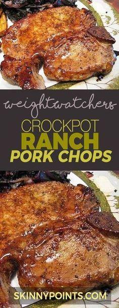 CROCKPOT RANCH PORK CHOPS Weight watchers Smart points Friendly Weight Watchers Smart Points, Weight Watchers Meals, Weight Watcher Crockpot Recipes, Weight Watchers Pork Chop Recipe, Ww Smart Points Recipes Slow Cooker, Cooker Recipes, Easy Crockpot Pork Chops, Crockpot Pork Chop Recipes, Crockpot Ranch Porkchops