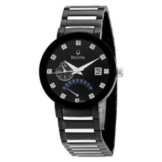 Bulova Men's 98D109 Diamond Accented Black Dial Bracelet Watch Bulova. $289.99. Quality Japanese-quartz movement. Stainless steel case and bracelet. Domed mineral crystal with black metalized rim. Water-resistant to 99 feet (30 M). Water resistant to 100 feet. Save 36% Off!