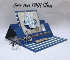 Congrats Swing Easel-Sneak Peek Sailing Home; Congrats Swing Easel by Wendy Lee, sneak peek, Tutoria Masculine Birthday Cards, Birthday Cards For Men, Masculine Cards, Fancy Fold Cards, Folded Cards, Tarjetas Pop Up, Stampin Up Karten, Nautical Cards, Beach Cards