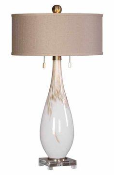 Uttermost White Glass Table Lamp