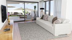Los mejores atardeceres y amaneceres desde tu propio salón. Render de diseño de salón en apartamento en Barcelona creado por Abellán 3D. #render #decoración #interiorismo #salones
