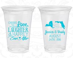 Cheers to Love Laughter, Wedding Favor Soft Plastic Cups, State to State Wedding, State, Disposable Cups (329)