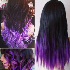 How to Go from Dark Hair to Pastel Color in One Set of Hair Extensions black purple colorful hair styles in straight or wavy with colorful hair extensions