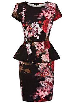 Warehouse floral print peplum dress, £50 - wedding guest dresses - wedding guest outfits