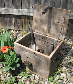 """Previous pinner wrote: """"My husband makes storage boxes from recycled barn wood, leather belts and buckles."""""""