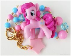 My Little Pony Necklace, Pinkie Pie Figure, Pink and Blue Beaded Choker - MLP, Fairy Kei