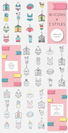 """SUMMER ON THE BEACH"" SET OF GRAPHIC ELEMENTS on Behance"