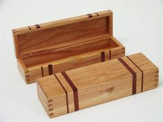 honey locus keepsake box with bloodwood stripes and box joints