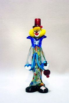 """11"""" Murano Clown holding bottle from MuranoClowns.us"""