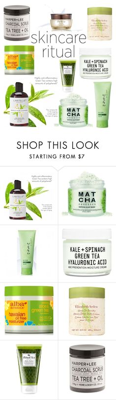 """""""For the Good of Green Tea"""" by ayiarundhati ❤ liked on Polyvore featuring beauty, Kwailnara, Youth To The People, Alba Botanica, Elizabeth Arden and Origins"""