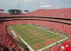 Arrowhead Stadium (home of the Chiefs), Kansas City, Missouri. I have been to several games in that wonderful place!
