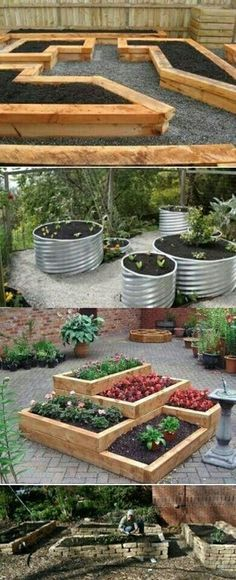 Garden Landscaping Raised Bed Ideas You could start with raised gardening beds and protect the dirt from outside contamination, any ideas on that? - Plain and boring backyard design is unappealing Raised Garden Beds, Raised Beds, Raised Gardens, Back Yard Gardens, Metal Garden Beds, Wooden Garden, Container Gardening, Gardening Tips, Organic Gardening